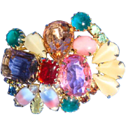 SALE Multicolor Brooch Faceted Rhinestones, Cabochons, Art Glass Prong Set Varied Shapes and S