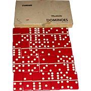 SALE Original Boxed Set Vintage Red Bakelite Marblelike Dominoes Made in U. S. A.