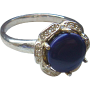 SALE Size 7 1/4 Sterling Silver Ring With Deep Blue Cabochon Stone Flower Setting