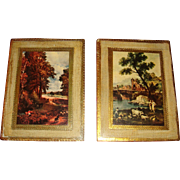 Two Florentine Italy Small Size Plaques Gold Gesso on Wood Seasonal Scenes