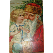 SALE Early 1900's German Embossed Santa and Child Postcard Unsigned Brundage Blue Green Mitten