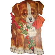 SALE Old Ephemera Embossed Die Cut Stubby Dog Christmas Card Book 8 1/2 Inches Tall