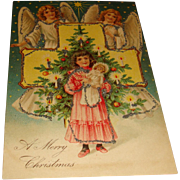 SALE Early Embossed Christmas Postcard Two Angels, Cross, and Little Girl With Doll