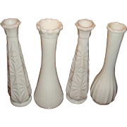 SALE 4 Milk Glass Bud Vases Carr Lowery, Starburst, Ribbed, Ruffled