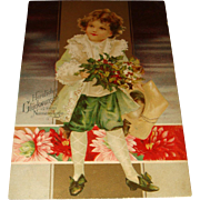 SALE 1906 German Kopal Christmas Postcard Child in Lace Coat, Knickers, Curls, Holly Leaves an