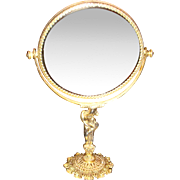SALE Shiny Brass or Gold Plated Ormolu Beveled Vanity Mirror on Figural Stand
