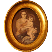 SALE Madonna and Child Esteban Murillo Print of 1650 Portrait Gold Gilt or Gesso Wooden ...
