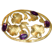 SALE Large Victorian Art Nouveau Lily Pad Brooch Sash Pin Deep Purple Faceted Stones