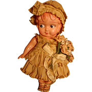 Bride's Flower Girl Molded Hair Early Celluloid Googly Eyes Doll All Paper Clothes, Hat, Flowe