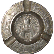 1934 Chicago World's Fair Century of Progress Advertising Souvenir Metal Ashtray Walgreen Drug