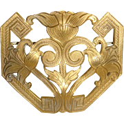 Large Art Nouveau Greek Key and Lily Brooch Sash Pin Old C Clasp