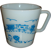 SALE 1960's Child's Pyrex Cup Mug With Train From Set Excellent Condition