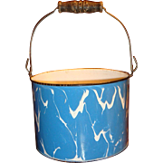 SALE Large Blue White Swirl Graniteware Bucket Wooden Bale Handle Columbian Early 1900s
