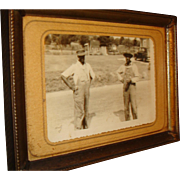 Early Black Americana Photo or Postcard in Old 5 x 7 Frame, 2 Working Men ...