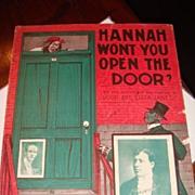 SOLD 1904 Black Americana Sheet Music 'Hannah Won't You Open the Door?' Eliza Jane