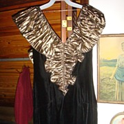 SALE Size 8 Black Velvet & Gold Metallic Wiggle Party Dress