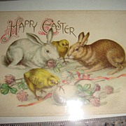 SOLD Easter Postcard With Bunnies, Chicks, Eggs and Clover Excellent