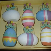 Set of 6 Vintage Dept. 56 Wooden Eggs Tulips 1980's