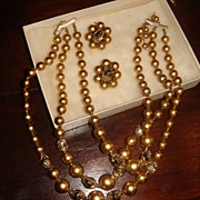 Triple Strand Necklace & Earrings Gold Colored With Sparkly Gold Tone Beads Japan