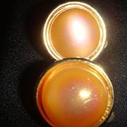 Cute Lisner Button Type Earrings Opalescent Stone