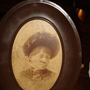 Very Old Metal and Celluloid Frame Photo of African American Lady