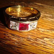 Man's Sterling Silver Ring With Ruby Red and Clear Rhinestone Sets Size 12