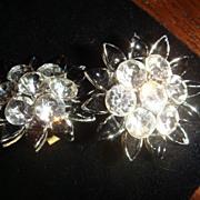 Sparkly Crystal Rhinestone and Black Enamel Lisner Earrings Flower Shaped