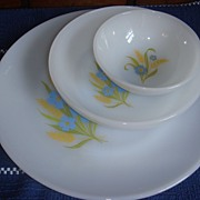3 Piece Set Forget Me Not Fire King Dinnerware Mint!