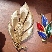 Two Great Leaf Pins Goldtone and Colorful Enameled Brooch