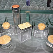 1930's Leather Vanity Traveling Case Bakelite Bottles