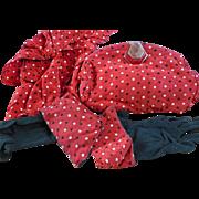 Vintage Polka Dot Purse Gloves and Scarf