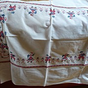 Vintage Embroidered Dancers Tablecloth