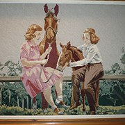 Vintage Needlepoint Picture Girls & Horses