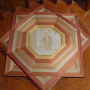 Victorian String Art Frame with Man Photo