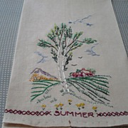 SOLD Hand Embroidered Summer Towel