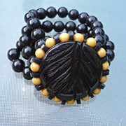 Bakelite Black Cream Stretch Bracelet