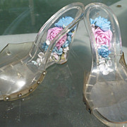 SALE Vintage Lucite Shoes Flower Encased Heels