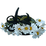 Vintage Black Ladies Hat with Daisies 1939