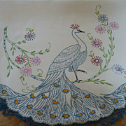 SOLD Hand Embroidered Crochet Peacock Towel
