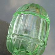 Green Depression Glass Bird Feeder