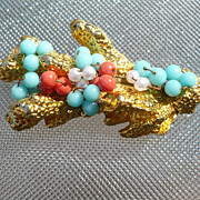 Vintage Castlecliff Coral & Turquoise Pin