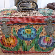 Victorian  Painted Wicker Case