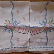 SOLD Hand Embroidered His Hers Guest Towels