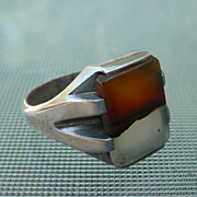 Agate & Sterling Mans Ring