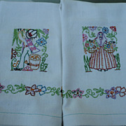 Vintage Hand Embroidered Spanish Towels