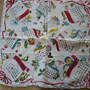 SOLD 1954 Calendar Handkerchief