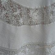 "SALE 48""D Inset Lace Valentine Tablecloth Topper"