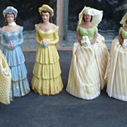SALE Six Vintage Wedding Cake Topper Chalkware Figures