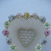 SALE Belleek Floral Heart Dish