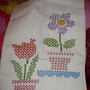 Vintage Flower Pot Embroidered Towel